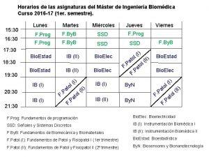 Horarios de las asignaturas del Mster de Ingeniera