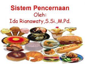 Sistem Pencernaan Oleh Ida Rianawaty S Si M