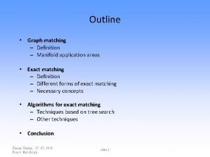 Outline Graph matching Definition Manifold application areas Exact