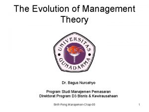 The Evolution of Management Theory Dr Bagus Nurcahyo