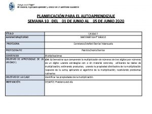 PLANIFICACIN PARA EL AUTOAPRENDIZAJE SEMANA 10 DEL 01