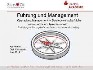 Fhrung und Management Operatives Management Betriebswirtschaftliche Instrumente erfolgreich