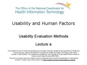 Usability and Human Factors Usability Evaluation Methods Lecture