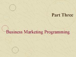 Part Three Business Marketing Programming Part Three Business