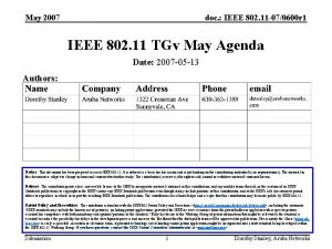 May 2007 doc IEEE 802 11 070600 r