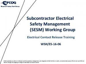 Subcontractor Electrical Safety Management SESM Working Group Electrical