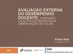 AVALIAO EXTERNA DO DESEMPENHO DOCENTE DIMENSO CIENTFICA E