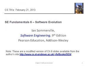 CS 791 z February 21 2013 SE Fundamentals