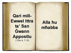 Qari mill Ewwel Ittra ta San wann Appostlu