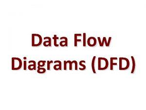 Data Flow Diagrams DFD Data Flow Diagrams DFD