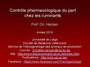 Contrle pharmacologique du part chez les ruminants Prof