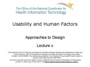 Usability and Human Factors Approaches to Design Lecture