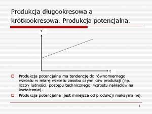 Produkcja dugookresowa a krtkookresowa Produkcja potencjalna Y t