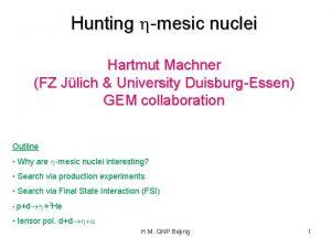 Hunting hmesic nuclei Hartmut Machner FZ Jlich University