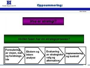 Oppsummering Gisle Henden Hva er strategi Hvilke faser