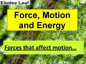 Force Motion and Energy Forces that affect motion