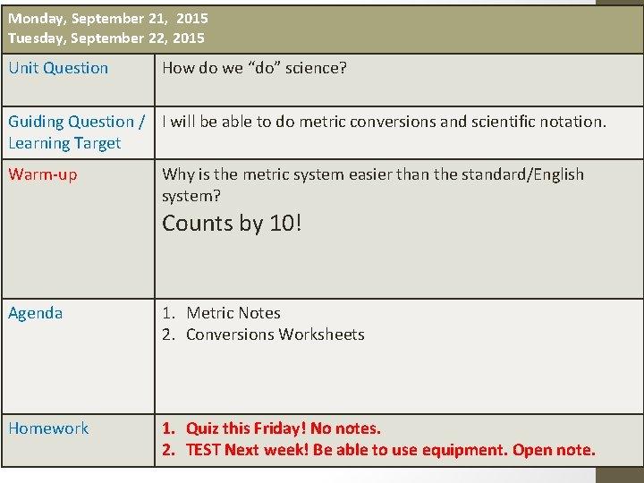 Monday September 21 2015 Tuesday September 22 2015
