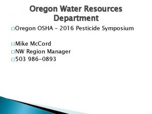 Oregon Water Resources Department Oregon Mike OSHA 2016