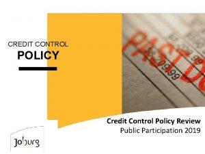 CREDIT CONTROL POLICY Credit Control Policy Review Public
