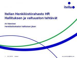 Itellan Henkilstrahasto HR Hallituksen ja valtuuston tehtvt Ari