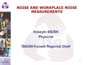 NOISE AND WORKPLACE NOISE MEASUREMENTS Hseyin SEZEK Physicist