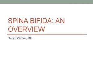 SPINA BIFIDA AN OVERVIEW Sarah Winter MD Spina