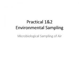 Practical 12 Environmental Sampling Microbiological Sampling of Air