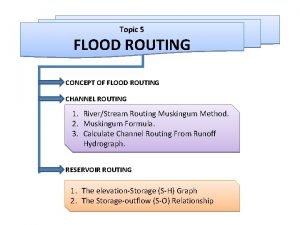 Topic 5 FLOOD ROUTING CONCEPT OF FLOOD ROUTING