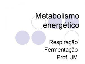 Metabolismo energtico Respirao Fermentao Prof JM Metabolismo l