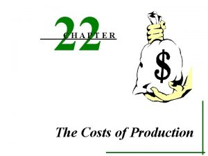 22 CHAPTER The Costs of Production I COSTs