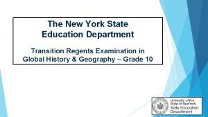 The New York State Education Department Transition Regents