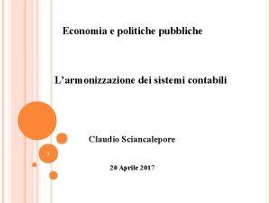 Economia e politiche pubbliche Larmonizzazione dei sistemi contabili