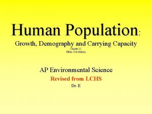 Human Population Growth Demography and Carrying Capacity Chapter