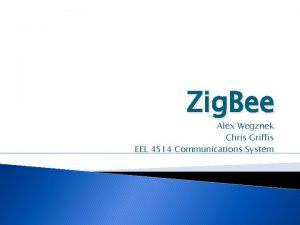 Zig Bee Alex Wegznek Chris Griffis EEL 4514