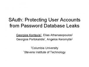 SAuth Protecting User Accounts from Password Database Leaks