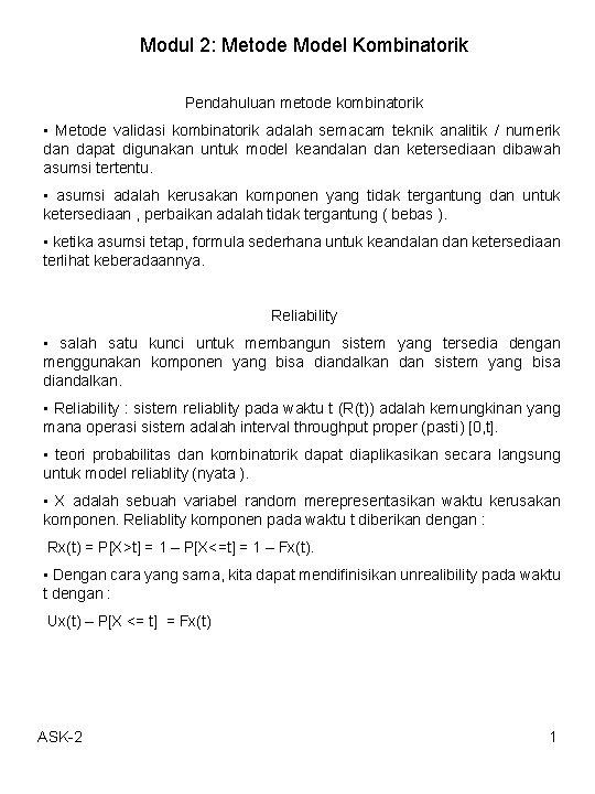 Modul 2 Metode Model Kombinatorik Pendahuluan metode kombinatorik