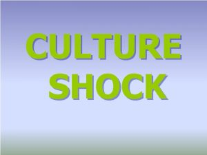 CULTURE SHOCK Culture the total way of life