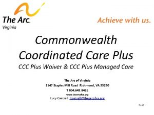 Commonwealth Coordinated Care Plus CCC Plus Waiver CCC