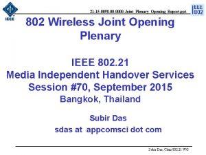 21 15 0098 00 0000 JointPlenaryOpeningReport ppt 802