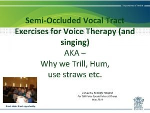 SemiOccluded Vocal Tract Exercises for Voice Therapy and