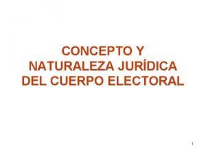 CONCEPTO Y NATURALEZA JURDICA DEL CUERPO ELECTORAL 1