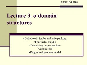CS 882 Fall 2006 Lecture 3 domain structures