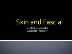 Skin and Fascia Dr Rashmi Malhotra Associate Professor