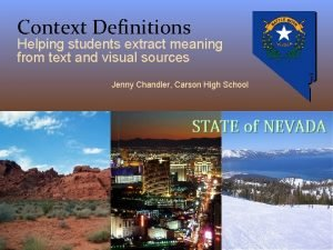 Context Definitions Helping students extract meaning from text