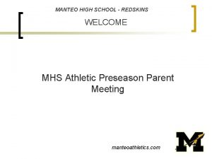 MANTEO HIGH SCHOOL REDSKINS WELCOME MHS Athletic Preseason
