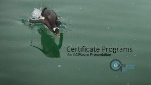 Certificate Programs An ACEware Presentation Certificate Tracking Agenda