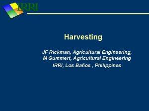 Harvesting JF Rickman Agricultural Engineering M Gummert Agricultural