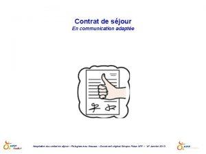 Contrat de sjour En communication adapte Adaptation du