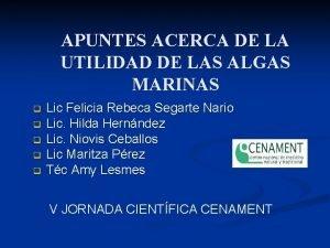APUNTES ACERCA DE LA UTILIDAD DE LAS ALGAS