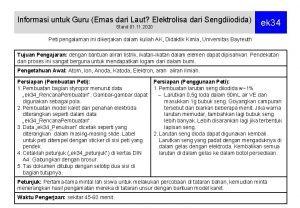 Informasi untuk Guru Emas dari Laut Elektrolisa dari